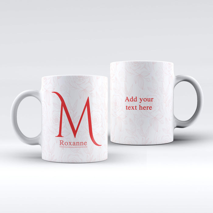 Initial, Name & Text Mug - Floral Design | Personalised White Mug design-your-gift.
