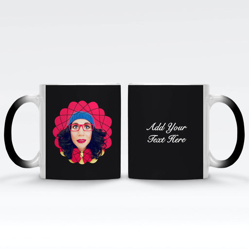 Personalised Black Magic Mug with Retro Curves Photo Mask and Text design Wrapped around the mug