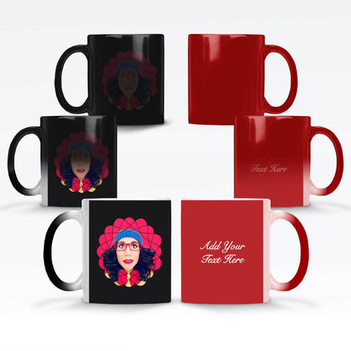 Personalised Black and red Magic Mug with a Photo Mask and Text design Wrapped around the mug