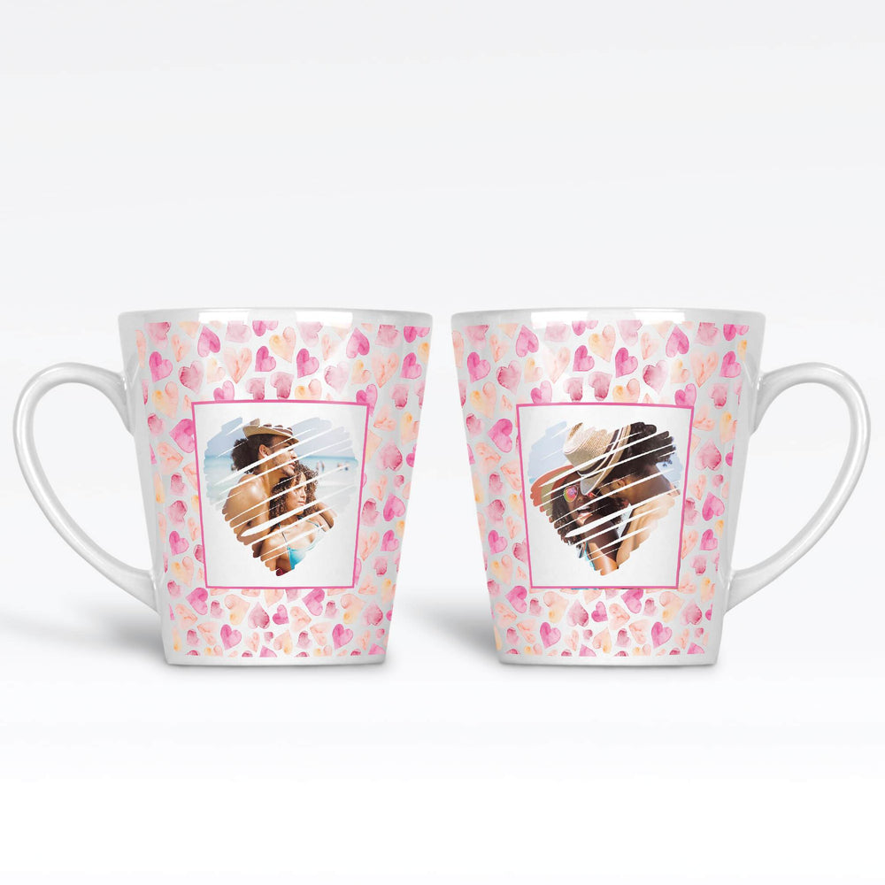 12 photo latte mug with seamless hearts background personalised with 2 photos with heart shape