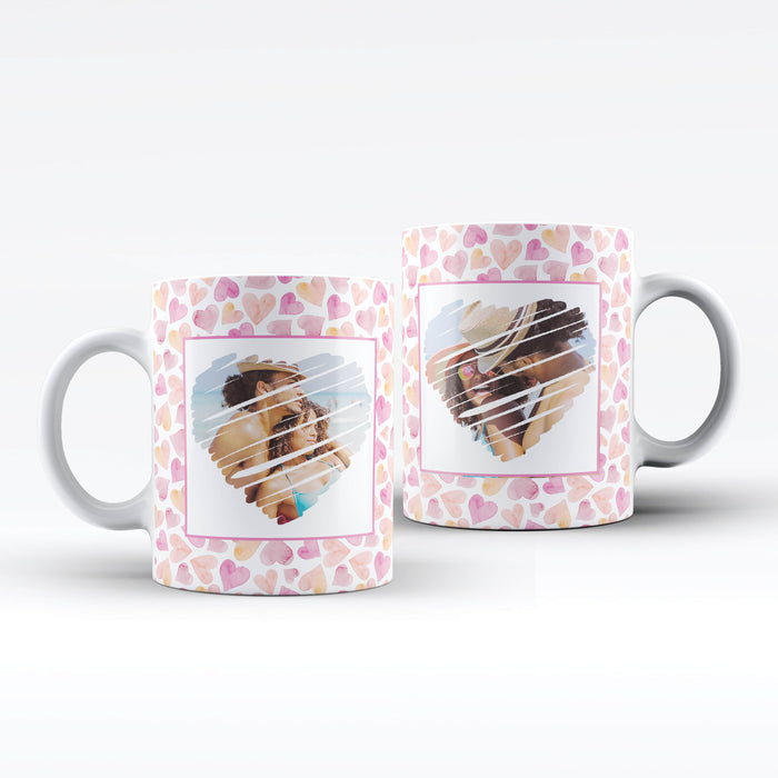 white mug with seamless hearts background personalised with 2 photos with heart shape