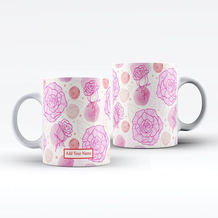 Name Mug - Roses Theme | Personalised White Mug design-your-gift.