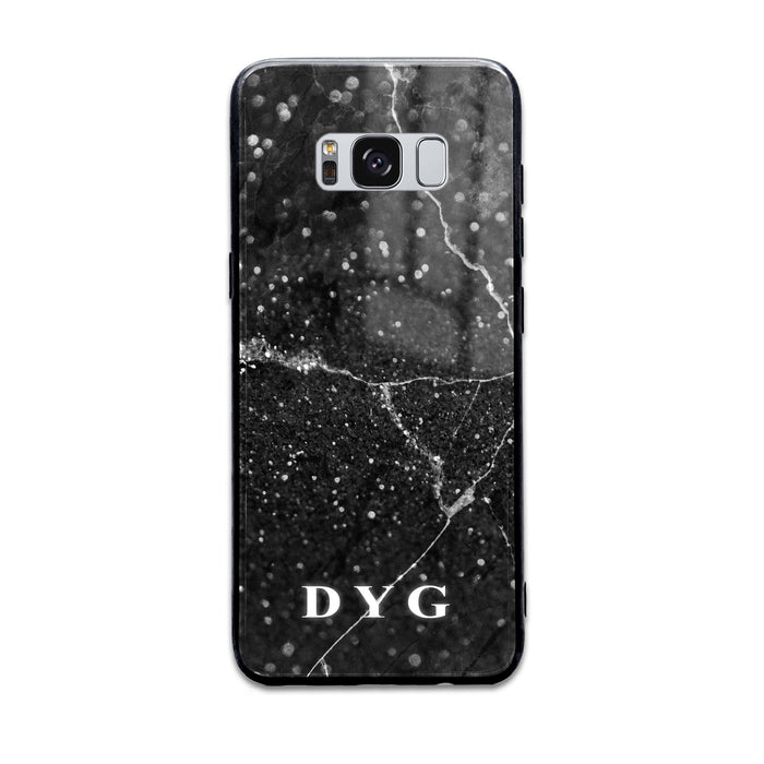 Custom initials Samsung Galaxy S8+ Glass phone case Black marble effect