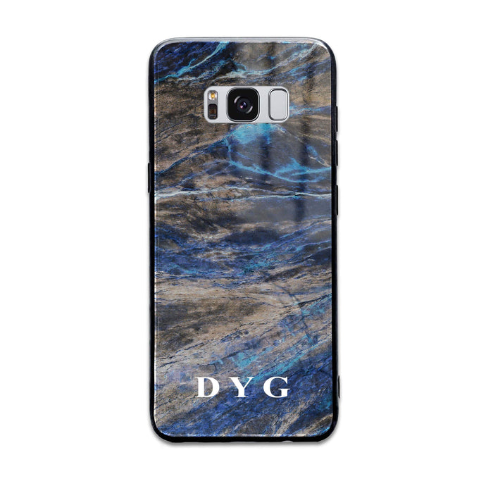 Custom initials Samsung Galaxy S8+ Glass phone case Earthy blue marble effect