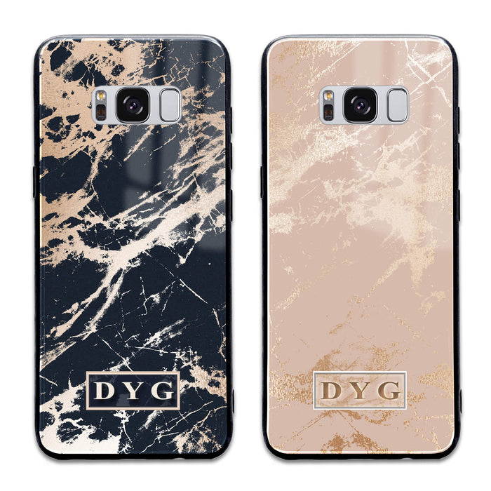 Luxury Gloss Marble with Initials - Galaxy S8+ Glass Phone Case