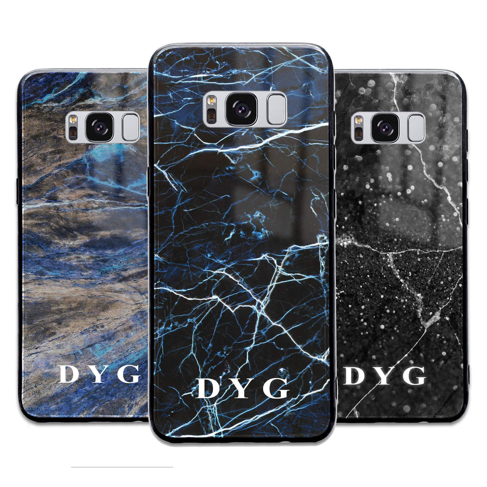 Custom initials Samsung Galaxy S8+ Glass phone case printed with dark marble effects available in 3 colours
