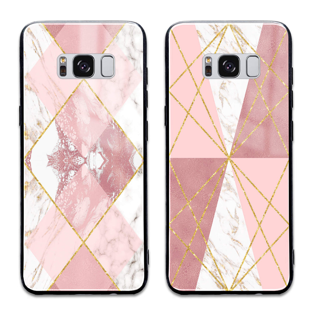 Rose Marble & Geometric Patterns - Samsung Galaxy S8+ Glass Phone Case design-your-gift.