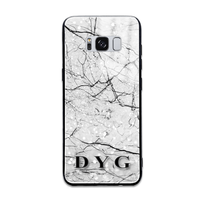 Marble Veins With Initials - Samsung Galaxy Glass Phone Case design-your-gift.