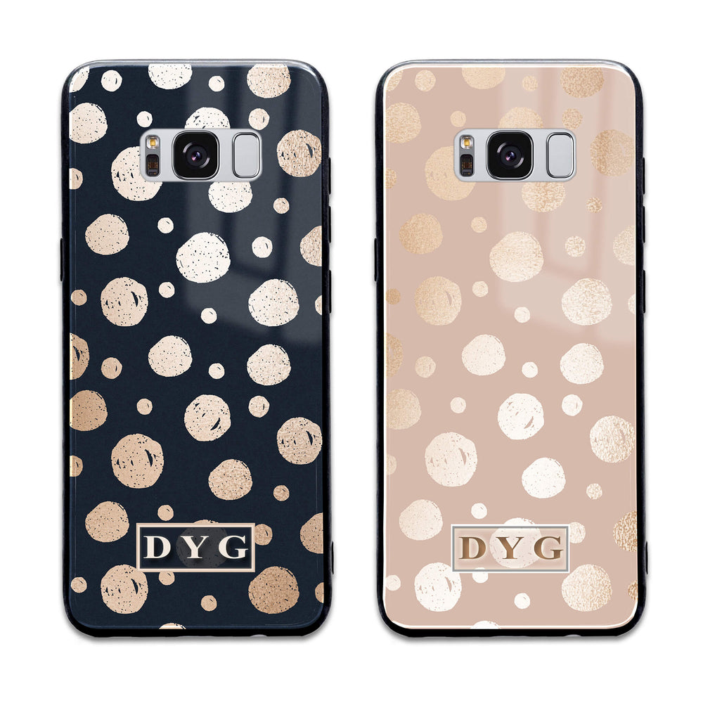 Glossy Dots with Initials - Samsung Galaxy Glass Phone Case design-your-gift.