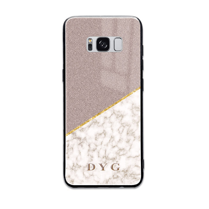Gold Marble & Glitter with Initials - Galaxy Glass Phone Case design-your-gift.