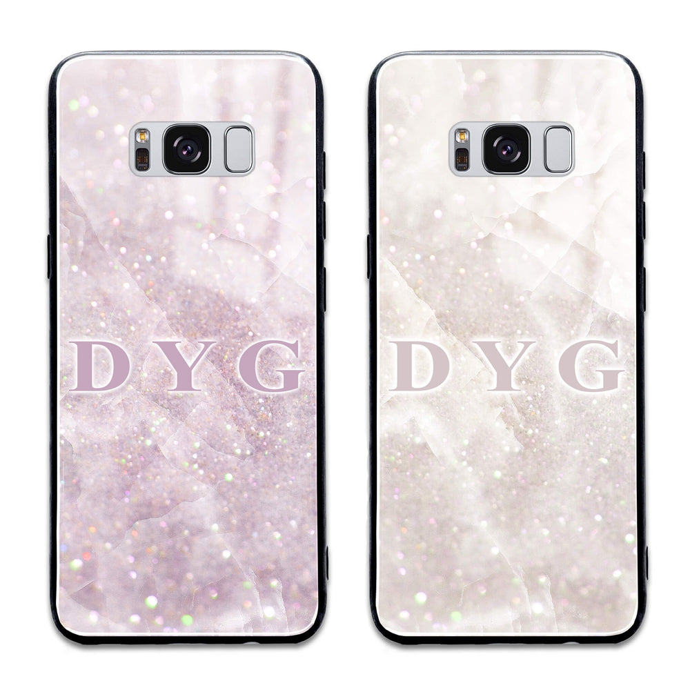 Luxury Sparkle Marble with Initials - Galaxy Glass Phone Case design-your-gift.