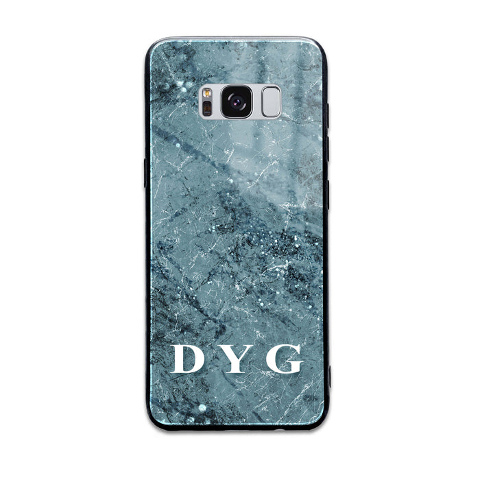 Sparkle Marble With Initials - Samsung Galaxy S8 Glass Phone Case design-your-gift.
