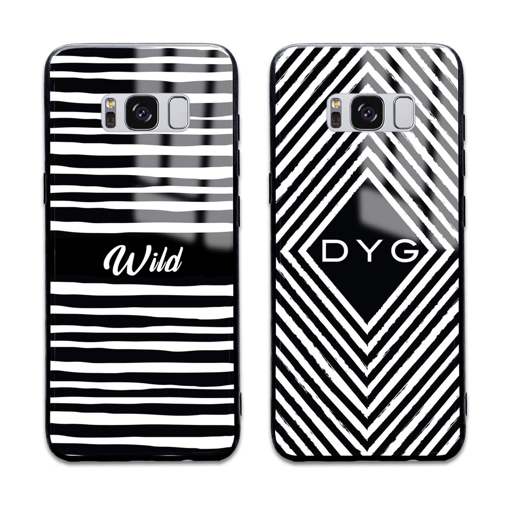 Black & White Patterns with initial - Galaxy Glass Phone Case design-your-gift.