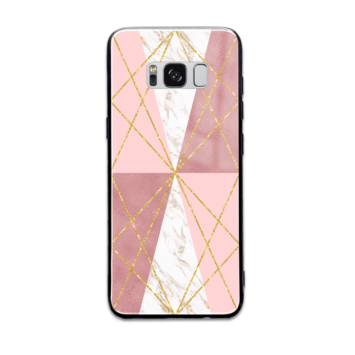 Rose Marble & Geometric Patterns - Samsung Galaxy S8 Glass Phone Case design-your-gift.
