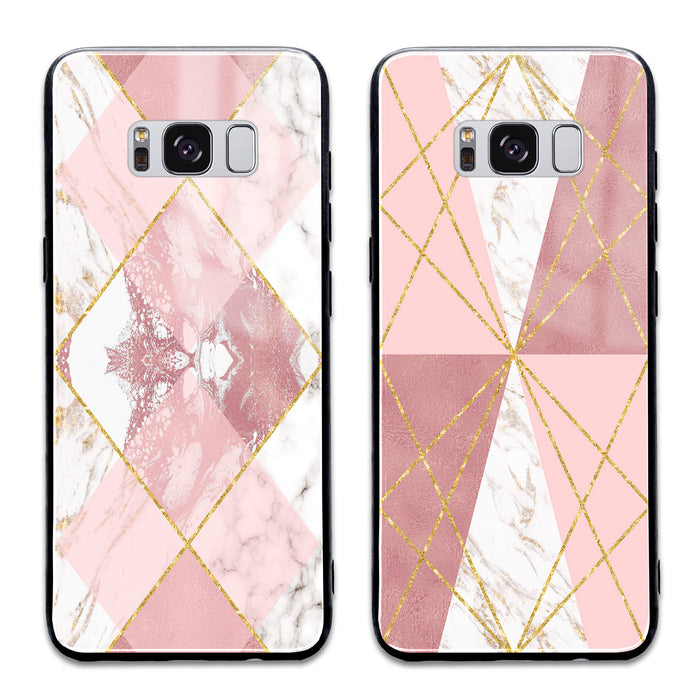 Rose Marble & Geometric Patterns - Samsung Galaxy Glass Phone Case design-your-gift.