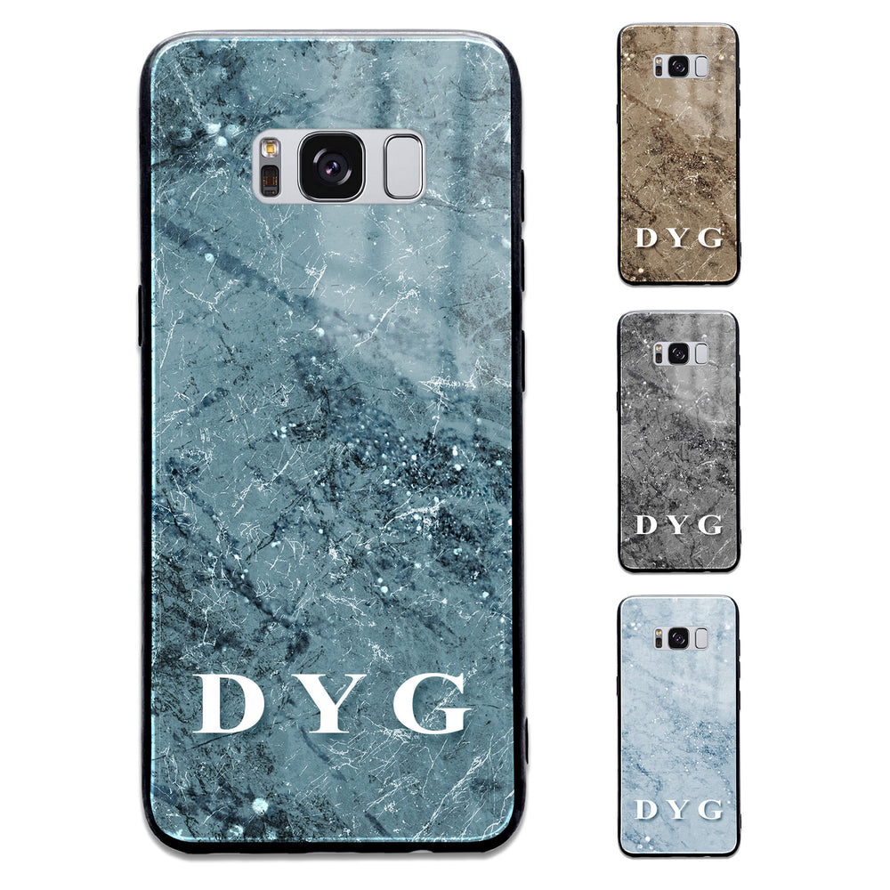 Sparkle Marble With Initials - Samsung Galaxy Glass Phone Case design-your-gift.