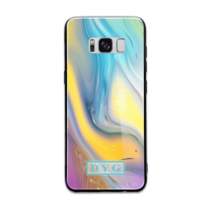 Liquid Marble With Initials - Samsung Galaxy Glass Phone Case design-your-gift.