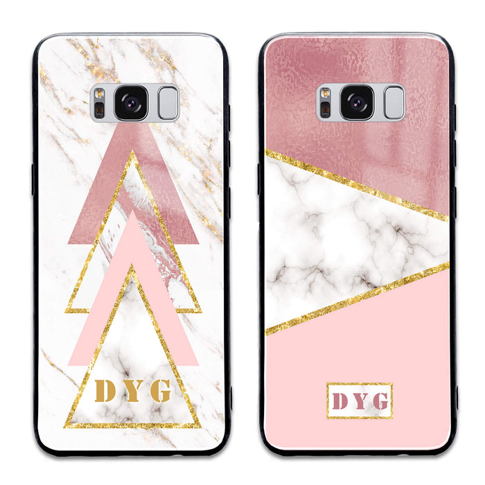 White & Rose Marble with Initials - Samsung Galaxy S8 Glass Phone Case design-your-gift.