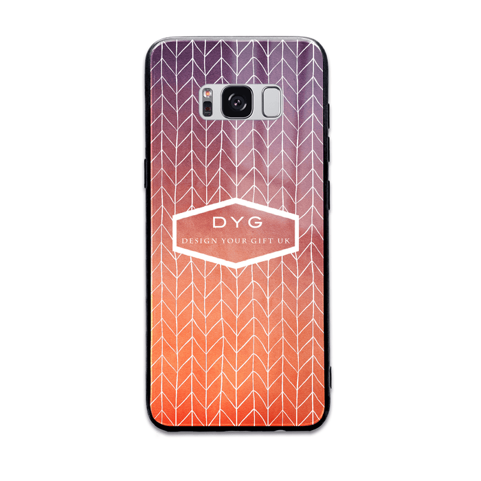 Hollow ZigZag with Initials and Text - Galaxy Glass Phone Case design-your-gift.