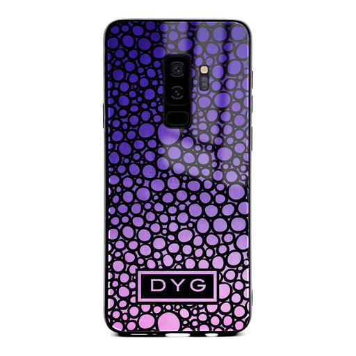 Custom initials Samsung Galaxy S9+ Glass phone case printed with bubble hallow purple ombre
