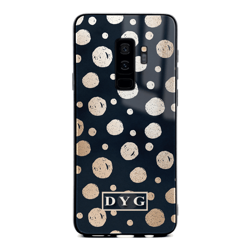 Samsung Galaxy S9+ glass phone case personalised with initials on a glossy dots design pattern black
