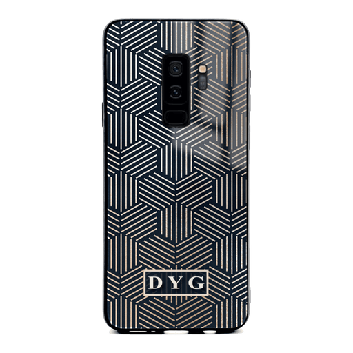 Glossy Geometric Patterns with Initials - Galaxy S9+ Glass Phone Case