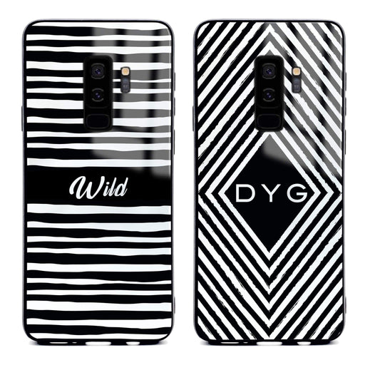Custom initials Samsung Galaxy S9+ Glass phone case with seamless black and white patterns in 2 different designs