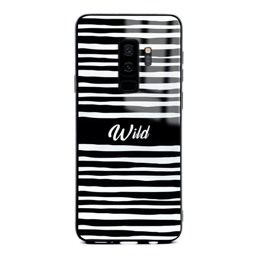 Custom initials Samsung Galaxy S9+ Glass phone case with Wild black and white design pattern