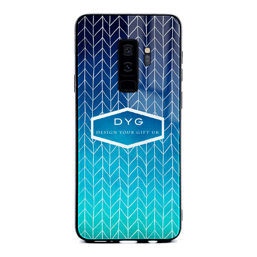 Hollow ZigZag with Initials and Text - Galaxy S9+ Glass Phone Case