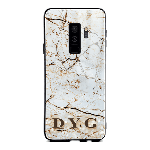 Samsung Galaxy S9+ glass phone case personalised with initials on a natural brown marble veins effect