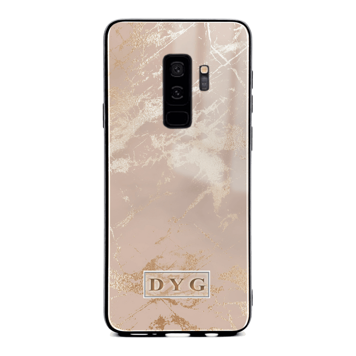 Luxury Gloss Marble with Initials - Galaxy S9 Plus Glass Phone Case