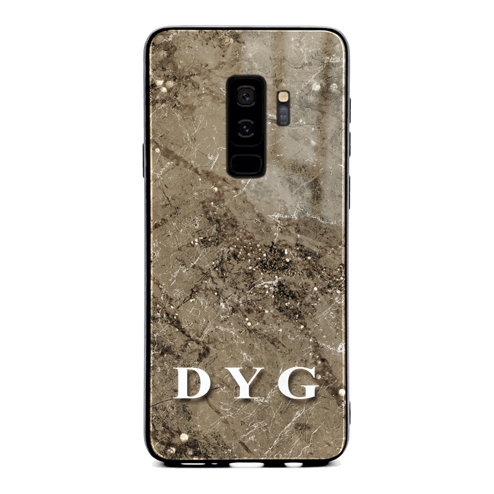Samsung Galaxy S9+ glass phone case personalised with initials on cinnamon sparkle marble