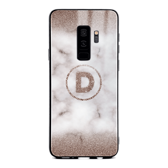 Custom initial Samsung Galaxy S9+ Glass phone case with sand glitter and marble effect and round shape