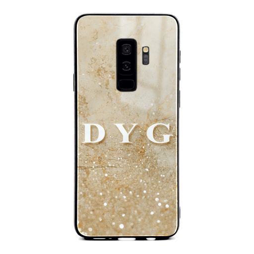 Samsung Galaxy S9+ glass phone case personalised with initials on a seamless cream sparkling marble