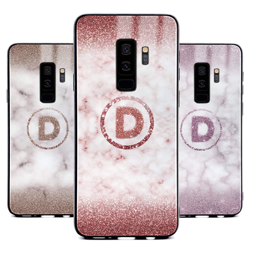 Custom initial Samsung Galaxy S9+ Glass phone case with glitter and marble effect and round shape available in 4 colours