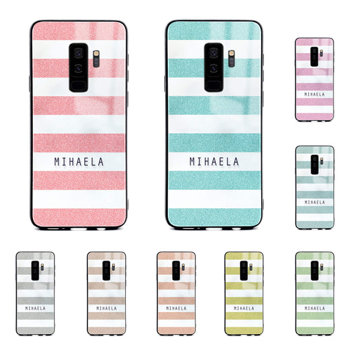 Samsung Galaxy S9+ glass phone case customised with name on glitter stripes design available in 9 colours