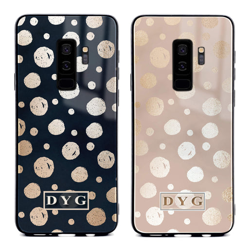 Samsung Galaxy S9+ glass phone case personalised with initials on a glossy dots design pattern available in 2 colours