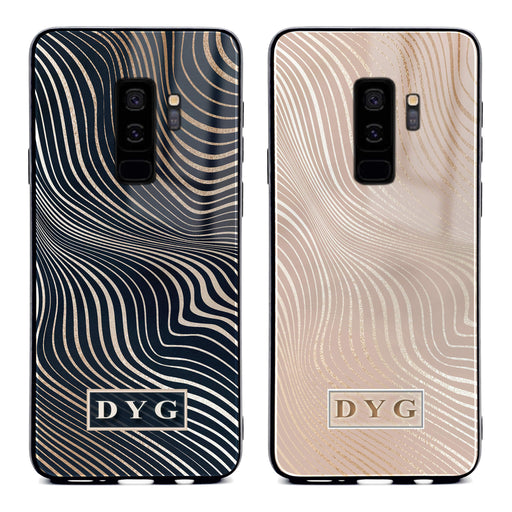 Samsung Galaxy S9+ glass phone case personalised with initials on a glossy waves pattern available in 2 colours