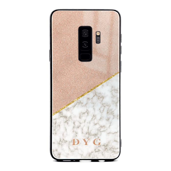 Gold Marble & Glitter with Initials - Galaxy S9 Plus Glass Phone Case