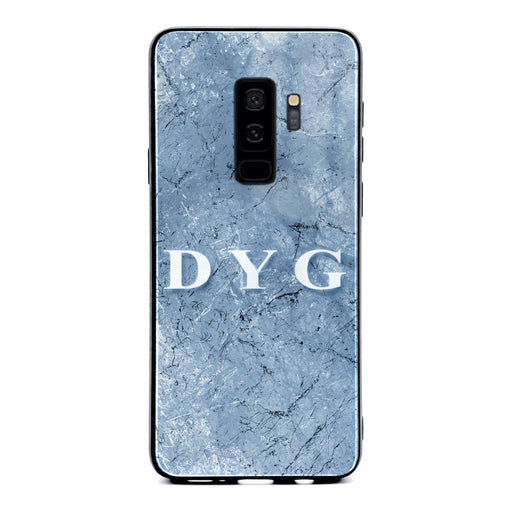 Custom initials Samsung Galaxy S9+ Glass phone case Blue cave marble effect