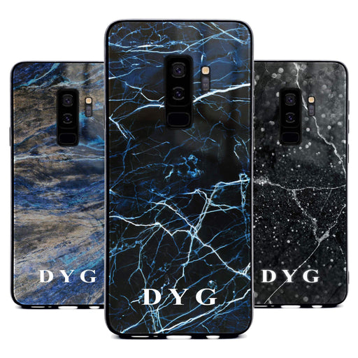 Custom initials Samsung Galaxy S9+ Glass phone case printed with dark marble effects available in 3 colours