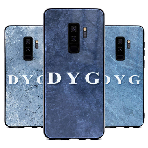 Custom initials Samsung Galaxy S9+ Glass phone case printed with blue marble effects available in 3 colours