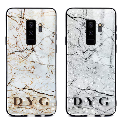 Samsung Galaxy S9+ glass phone case personalised with initials on a natural marble veins effect available in 2 colours