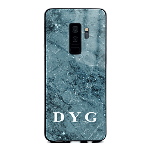 Samsung Galaxy S9+ glass phone case personalised with initials on blue sparkle marble
