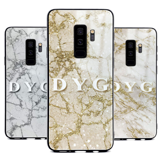 Samsung Galaxy S9+ glass phone case personalised with initials on sparkling pearl marble available in 3 colours