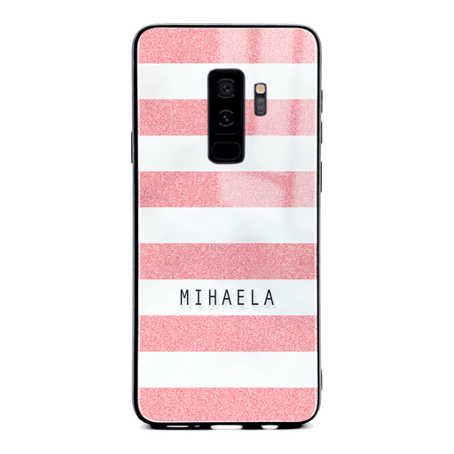 Samsung Galaxy S9+ glass phone case customised with name on pink glitter stripes