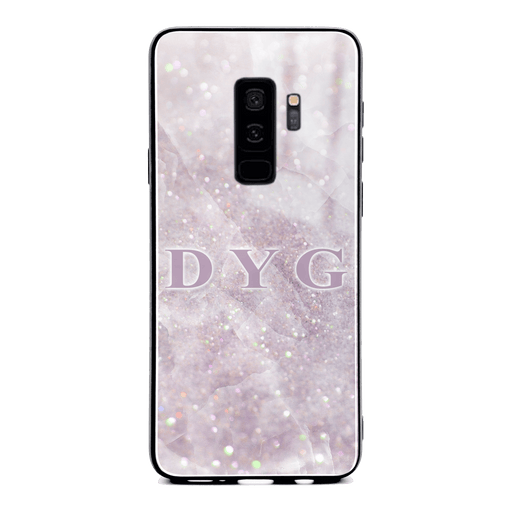 Luxury Sparkle Marble with Initials - Galaxy S9 Plus Glass Phone Case