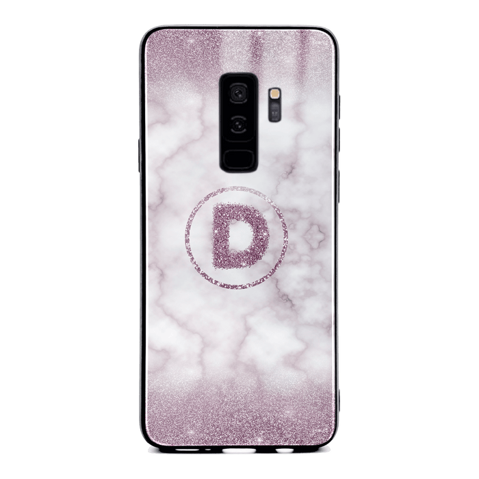 Custom initial Samsung Galaxy S9+ Glass phone case with purple glitter and marble effect and round shape