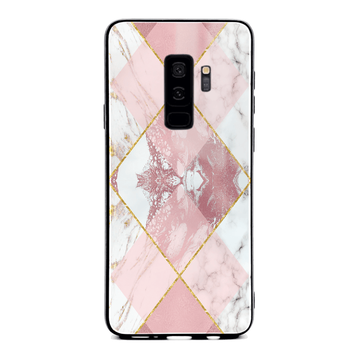 Samsung Galaxy S9+ glass phone case printed with seamless white and rose marble patterns design 1