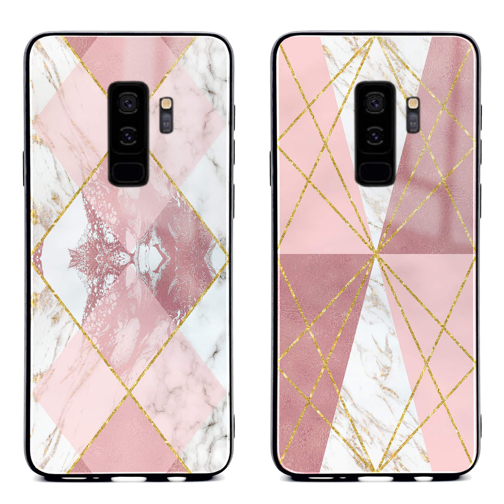 Samsung Galaxy S9+ glass phone case printed with seamless white and rose marble patterns available in 2 design variants